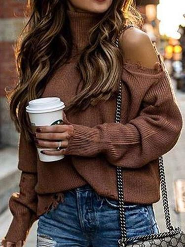 Pure Off shoulder High collar Knit Sweaters