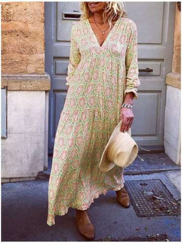 Fahion Casual Loose Print V neck Long sleeve Maxi Dresses
