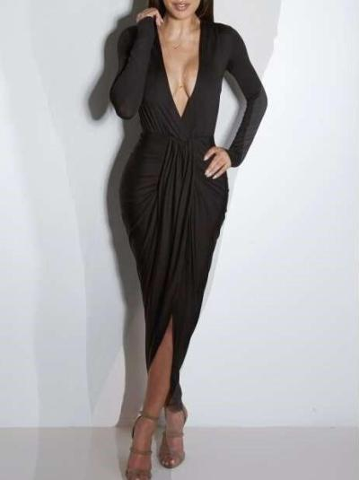 Fashion Sexy Drape V neck Long sleeve Bodycon Dresses