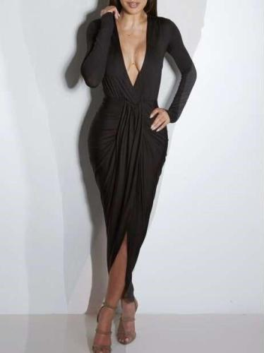 Fashion Sexy Drape V neck Long sleeve Bodycon Dresses