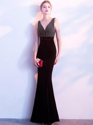 Velvet Sequined Contrast V-Neck Sleeveless Sheath Backless Dresses