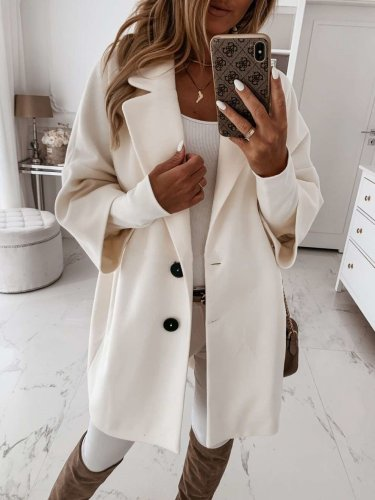 Fashion Pure Lapel Three quarter sleeve Pocket Coats