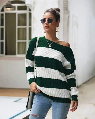 Sexy Stripe Knit Long sleeve Sweaters