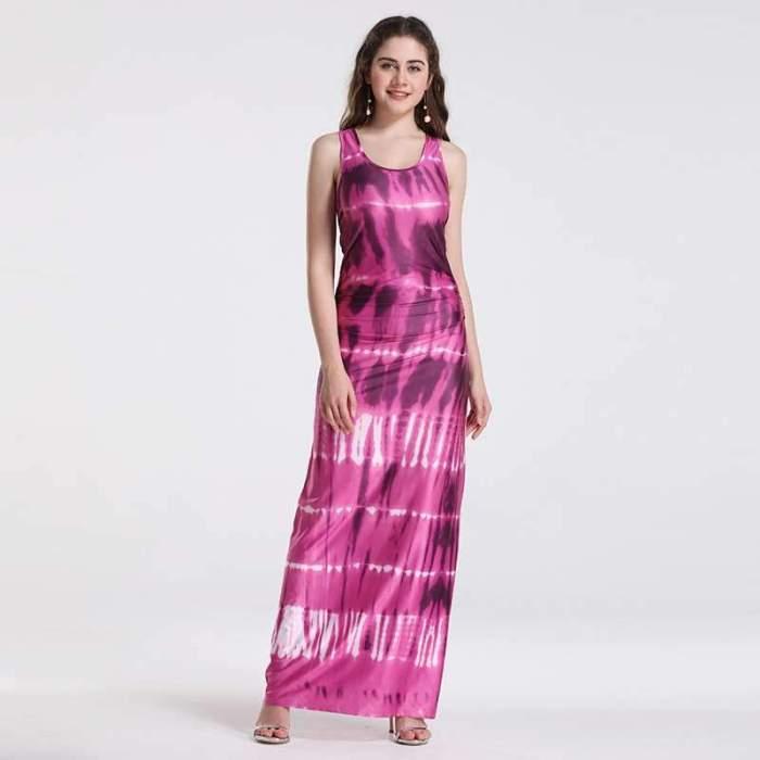 Off shoulder Vest Gradient print Maxi Dresses