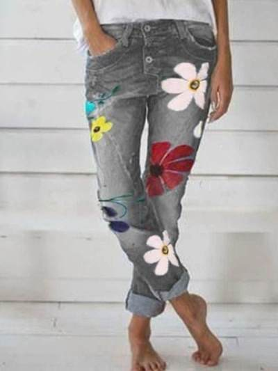 Flower printed denim casual long pants