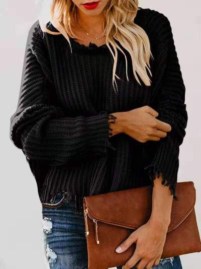 Pure V neck Purl Long sleeve Knit Sweaters