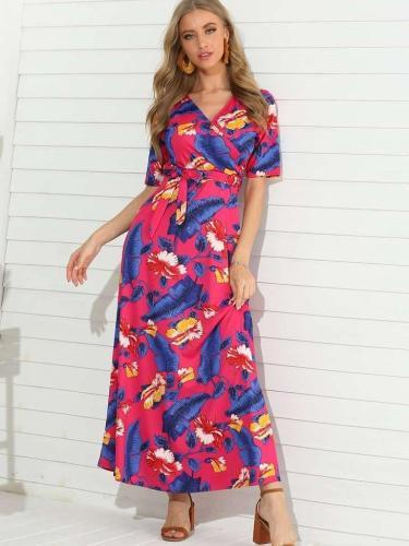 Fashion V neck Short sleeve Lacing Maxi Dresses