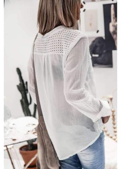 Fashion Pure Stand collar Hollow out Long sleeve Blouses