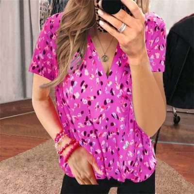 Fashion Casual Print V neck Short sleeve T-Shirts