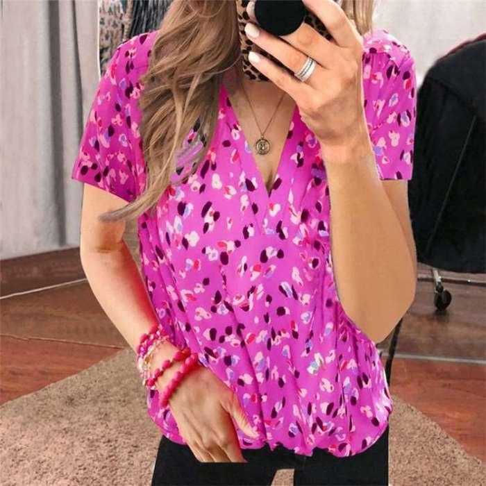 Fashion Casual Print V neck Short sleeve T-Shirts