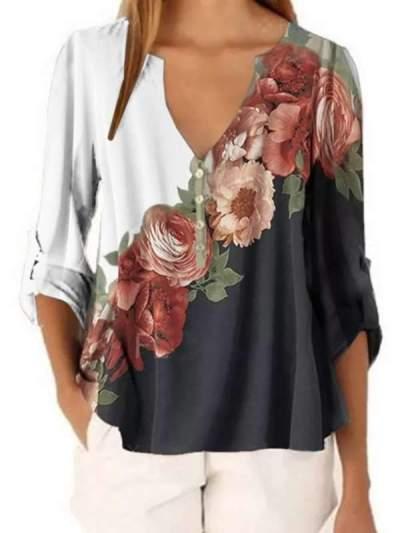 Chiffon V Neck Floral Printed Short Sleeve Blouses