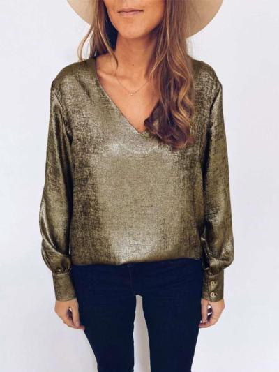 Fashion Pure V neck Gold stamping Long sleeve T-Shirts