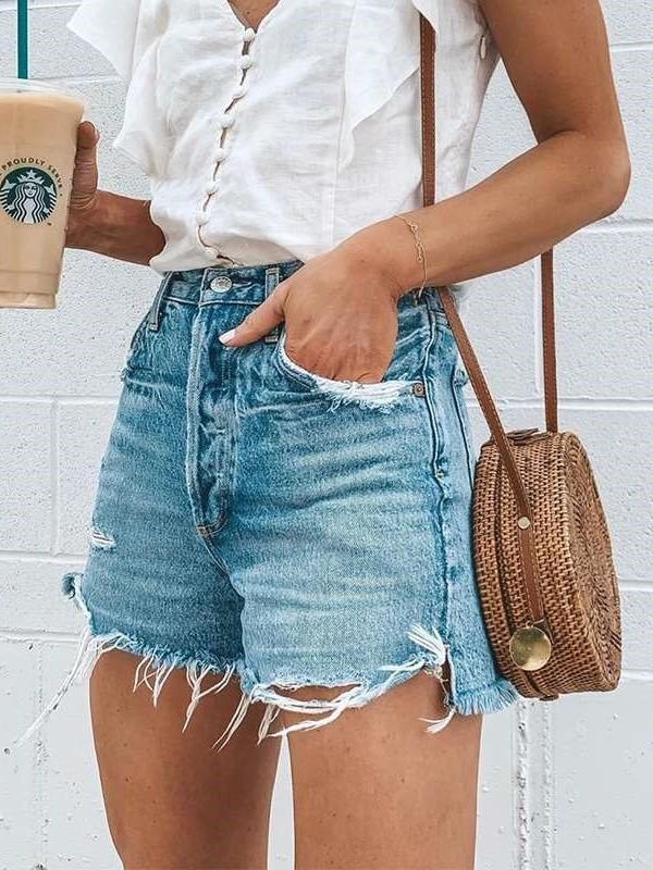 Fashion Casual Hollow out Macrame Jean Short Pants