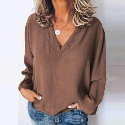 Casual Loose Pure V neck Long sleeve Blouses