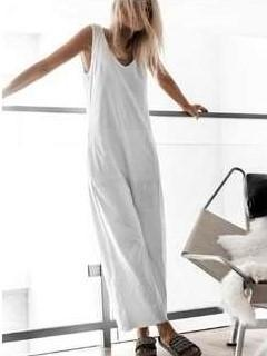 Casual Loose Pure V neck Sleeveless Vest Jumpsuits