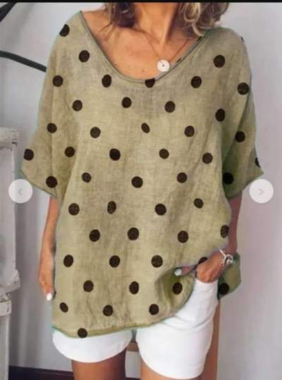 Casual Loose Point print V neck Short sleeve T-Shirts