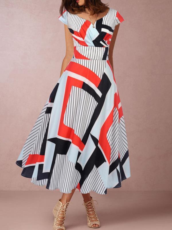 Elegant Short  sleeved printed long skater dresses