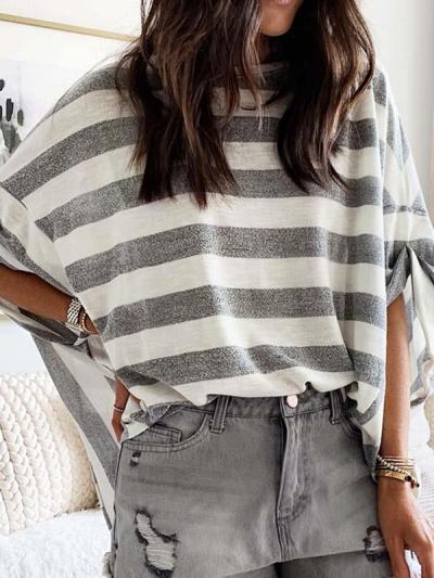 Stripe women batwing sleeve T-shirts