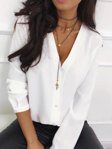 Fashion Plain Lone sleeve Plain Blouses