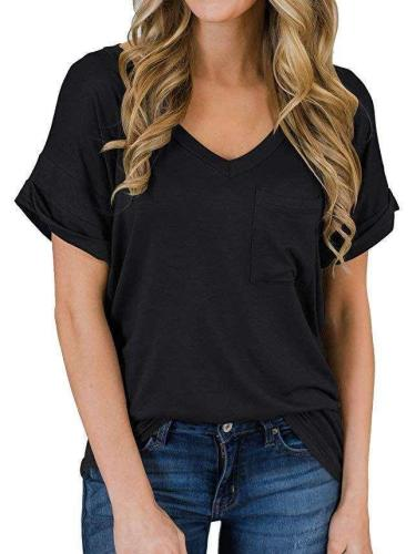 Fashion Pure Short sleeve V neck T-Shirts