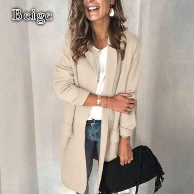 Pure Long sleeve Lapel Fake pocket Coats