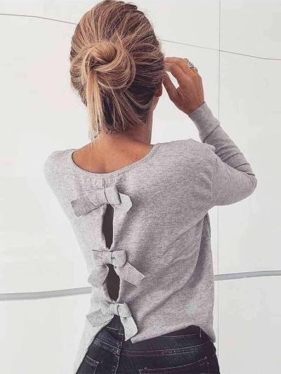 Sexy Round neck Bowknot Long sleeve T-Shirts