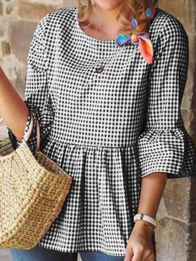 Fashion Stripe Gored Round neck Half sleeve Blouses
