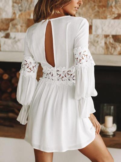 Chic White Long sleeve v-neck lace patchwork Min Skater dresses