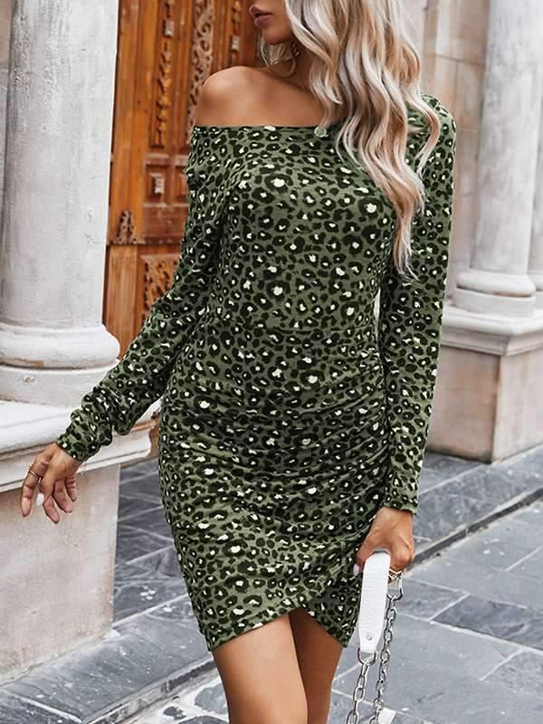 Fashion Leopard printed slim bodycon dresses