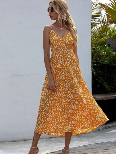Fashion Print V neck Vest Skater Maxi Dresses