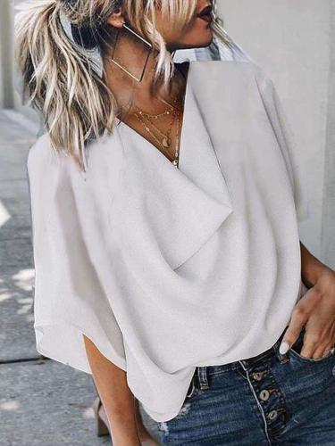 Fashion Casual Pure V neck Half sleeve Blouses