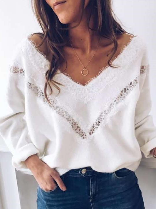 Sexy Lace Hollow out V neck Pure T-Shirts