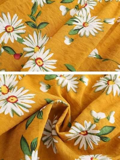 Women chiffon daisy printed shorts short pants