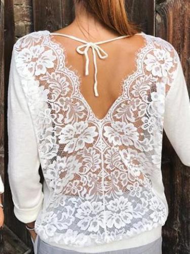 Fashion Cutout Backless Long sleeve T-Shirts