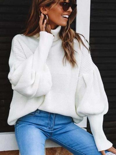 Loose Pure High collar Long sleeve Sweaters