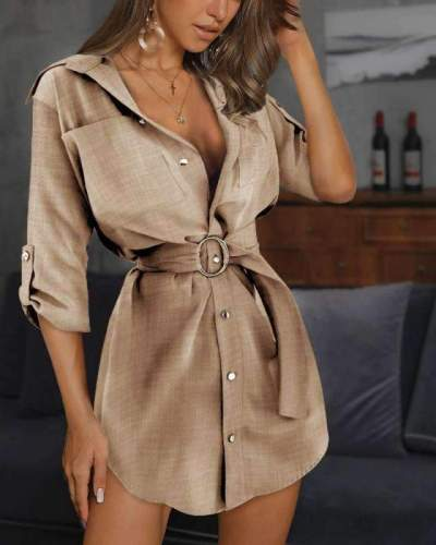 Fashion Pure Lapel Half sleeve Belt Shirt Skater Dresses