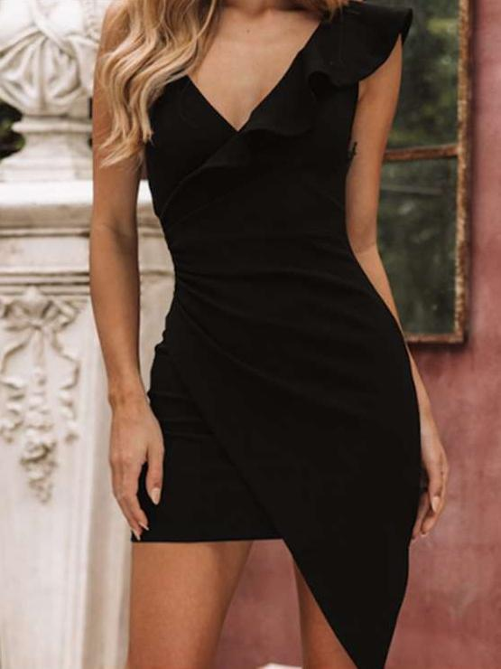 Single shoulder Falbala V neck Irregular Bodycon Dresses