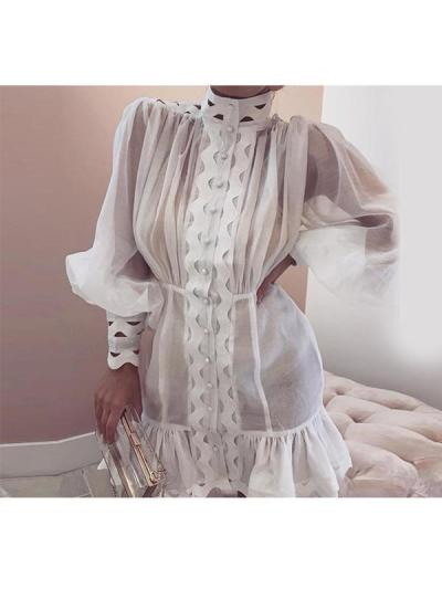 Chic women fashion white high collar long sleeve shift dresses