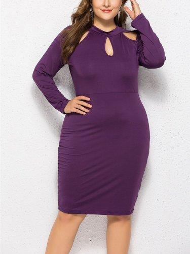 Plus Size Woman Plain Sexy Bodycon Dress