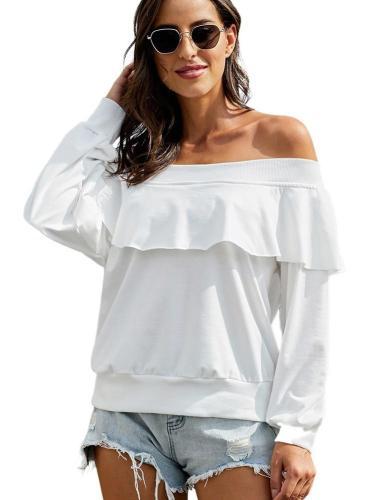 Loose Off shoulder Pure Falbala Long sleeve T-Shirts