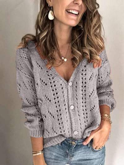 Hollowed-out long sleeve V-neck chic sweaters