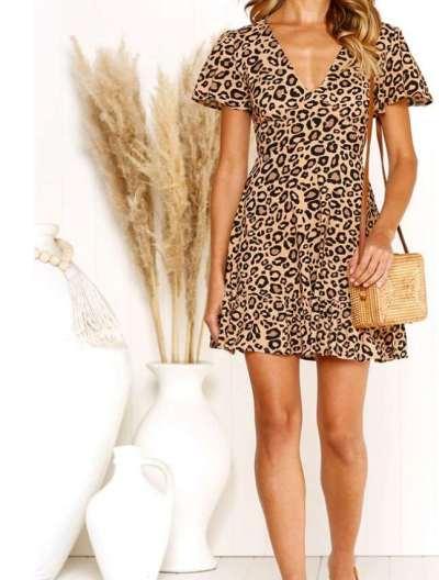 Fashion Leopard print V neck Short sleeve Skater Dresses