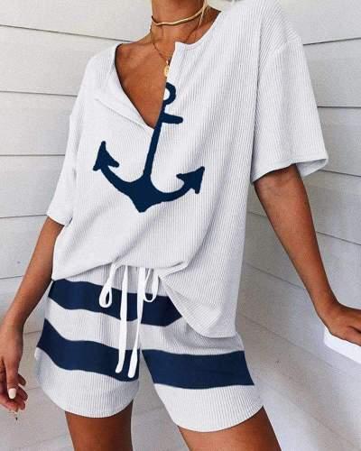 Fashion Casual V neck Print Short sleeve T shirt&pants Suit