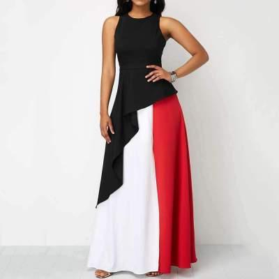 Fashion Sexy Gored Round neck Sleeveless Maxi Dresses