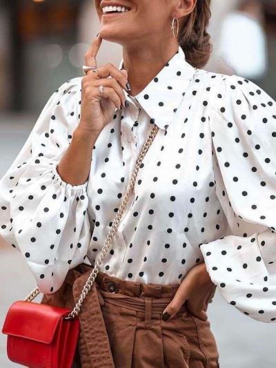 Fashion Point print Lapel Puff sleeve Blouses