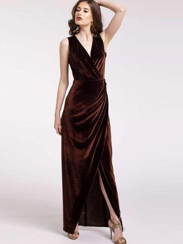 Sexy V neck Sleeveless Pleuche Evening Dresses
