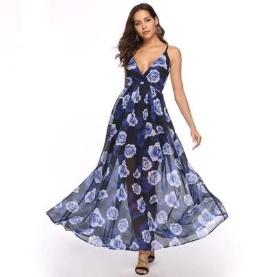 Fashion Print V neck Beach Maxi Dresses