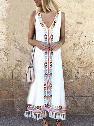 V Neck Colorful Bohemia Sleeveless Casual Long Maxi Dresses