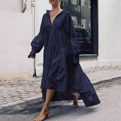 Casual Loose Pure V neck Long sleeve Gored Irregular Maxi Dresses