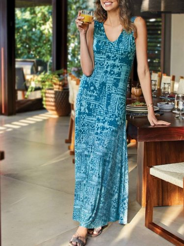 Fashion Print V neck Sleeveless Maxi Dresses